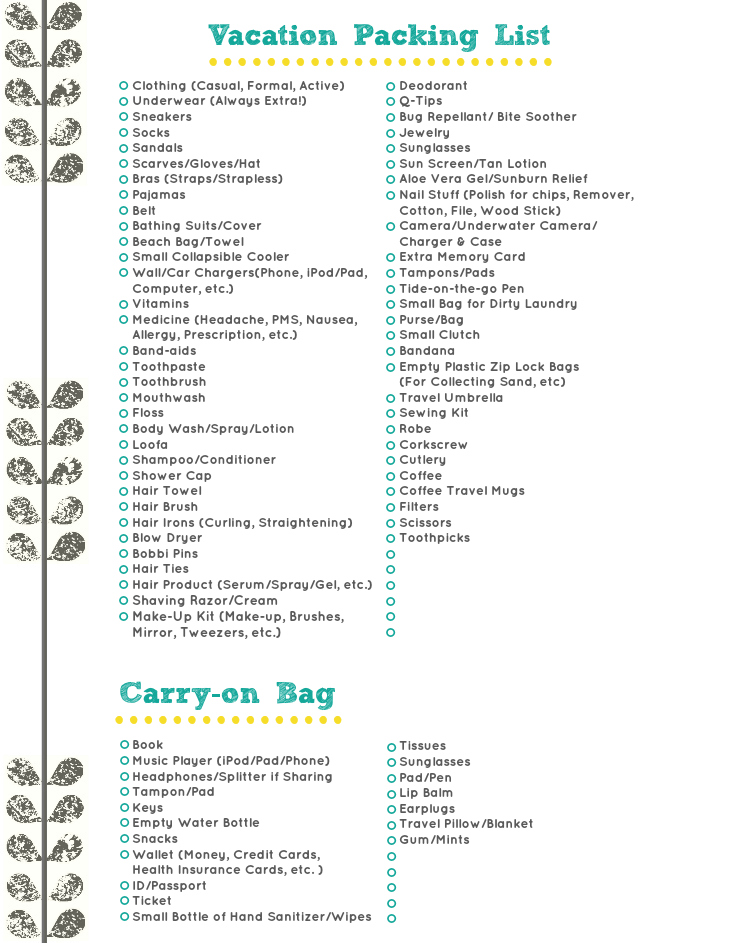 Vacation Packing List A Free Download  Diary Of A Mad Crafter