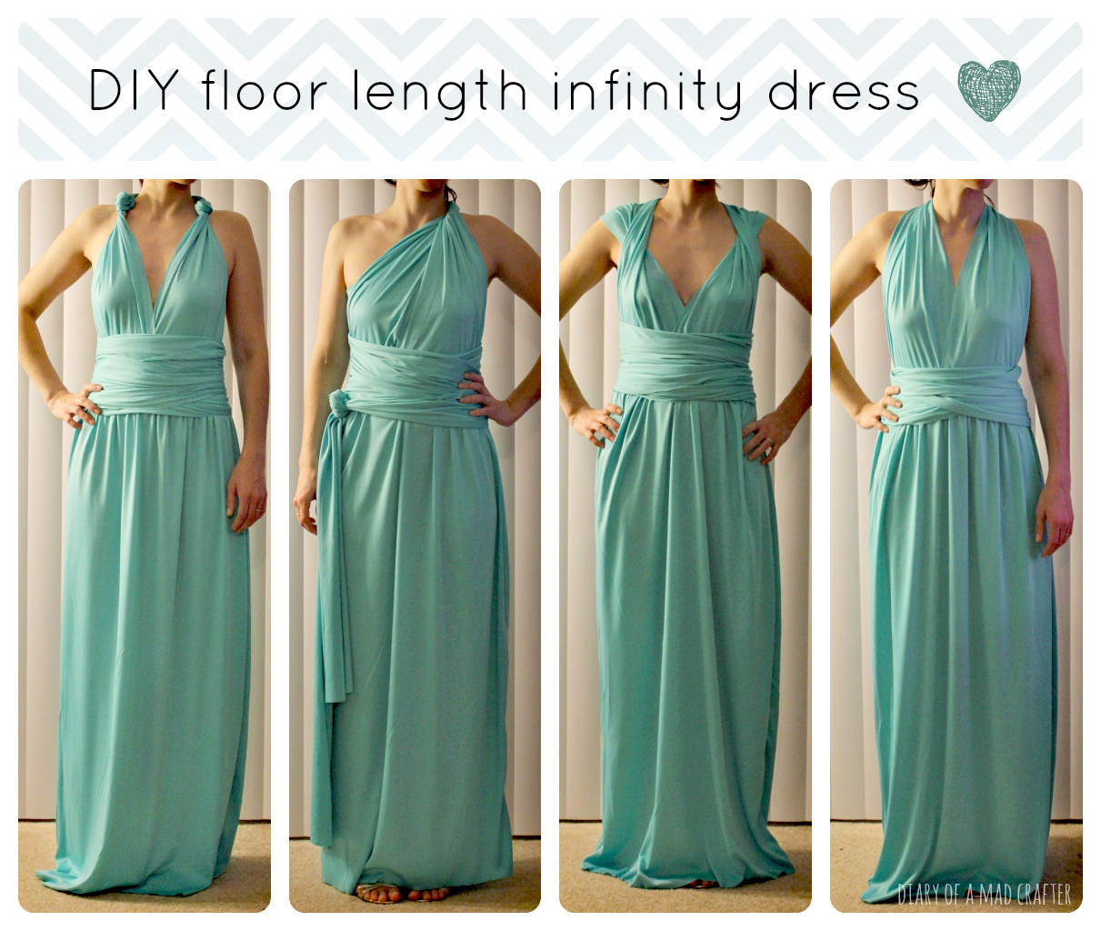 Diy floor length infinity dress diary of a mad crafter here are just a few ways to wear the dress but theres about a million different ways to wear this dress i love it so much and cant wait to wear it to ombrellifo Choice Image